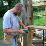 David Braun works on the structure in his Kokomo Indiana yard